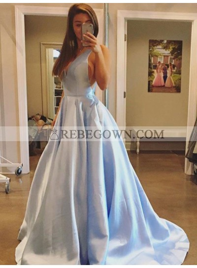 2020 Deep V-Neck Prom Dresses Blue Sexy Sleeveless A-Line Pleated Long Simple Satin