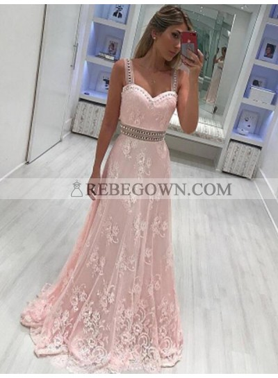 2020 Sweetheart Prom Dresses Pink Sheer Straps A-Line Lace Flowers Sleeveless Long