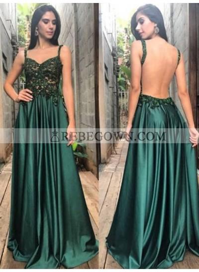 2020 Backless Prom Dresses V-Neck Sleeveless Hunter Pleated Appliques Satin Long