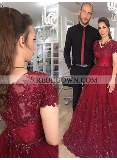 2020 Short Sleeve Prom Dresses V-Neck Burgundy Appliques A-Line Pleated Sheer Lace Long