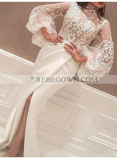 2020 High Neck Prom Dresses Long Sleeve Sheer Appliques Mermaid Front Split Floor Length