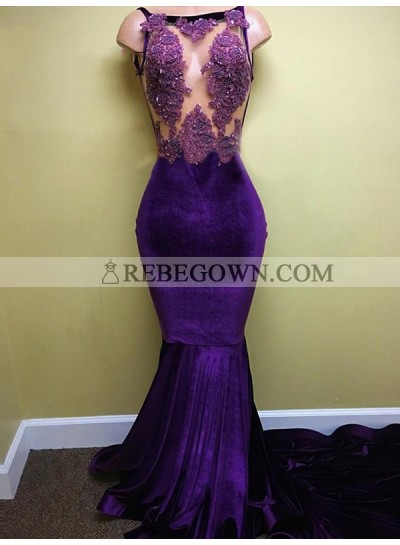 2020 Prom Dresses See Through Bateau Appliques Mermaid Sleeveless Satin Sexy Long