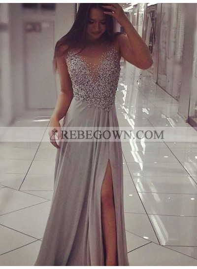 2020 Side Split Prom Dresses Scoop Sheer Beaded Sleeveless Grey Satin Long Sheath