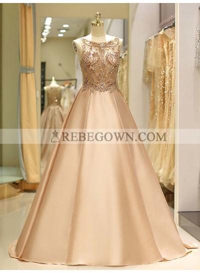 2020 Scoop Prom Dresses Champagne Satin Beaded Sheer Sleeveless A-Line Rhinestone