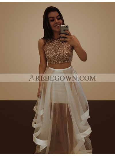 2020 Two Pieces Prom Dresses Sheer See Through Ruffles Jewel Long A-Line