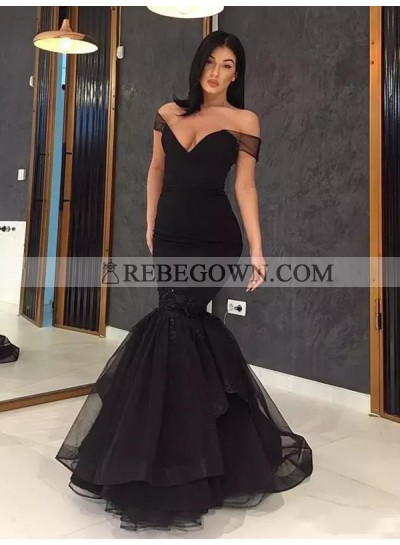 2020 Sheer Prom Dresses Black Organza Off The Shoulder Mermaid Sexy Tiered Ruffles Deep V-Neck