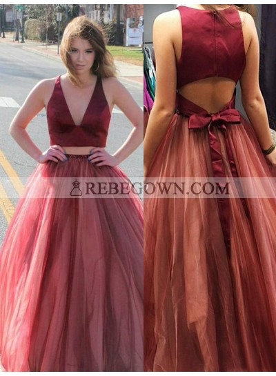 2020 V-neck Prom Dresses Sleeveless A-Line Tulle Burgundy Two Pieces Bow Knot Long
