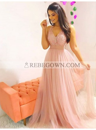 2020 Tulle Prom Dresses V-Neck Sleeveless Beaded Sheer Pleated A-Line Cute Charming