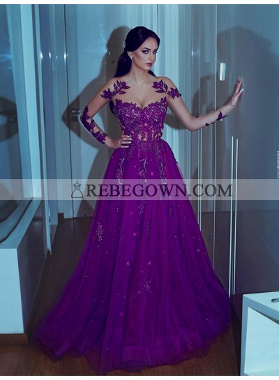 2020 Long Sleeve Prom Dresses Exquisite Scoop Appliques Sheer Purple Lace A-Line