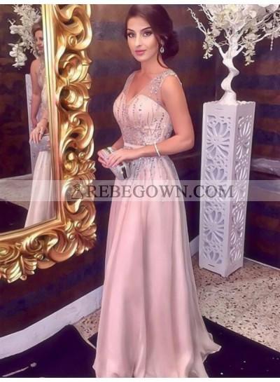 2020 V-neck Prom Dresses Sheer Straps A-Line Ivory  Beading Sparkle