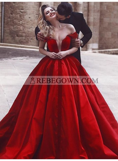 2020 Sheer Prom Dresses Deep V-Neck Off Shoulder Red Satin Ball Gown Pleated Sexy Long