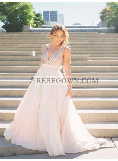 2020 V-neck Prom Dresses Sleeveless Sequins Ivory A-Line Chiffon Pleated