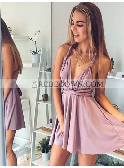 Deep V Neck Straps Backless Criss Cross Sexy Dusty Rose A Line Satin Pleated Homecoming Dresses