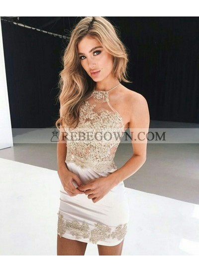 Halter Straps Sheer Satin Appliques Flowers Sheath Sleeveless Sexy Ivory Homecoming Dresses