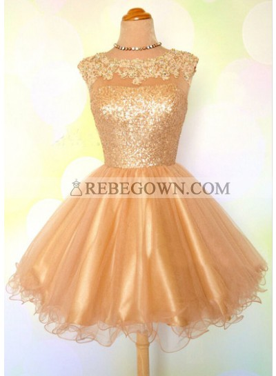 Cap Sleeve Jewel Appliques Sequins Sheer A Line Gold Organza Backless Homecoming Dresses