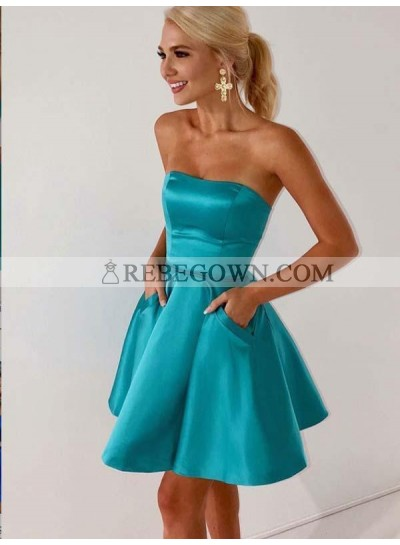 Teal Strapless A Line Short Pleated Satin Backless Pockets Homecoming Dresses