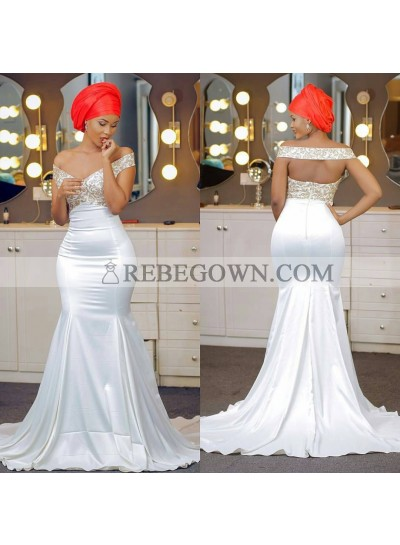 2020 Mermaid Wedding Dresses Satin Off Shoulder Embroidery Backless Long Bridal Gowns