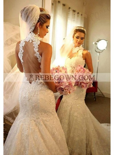 2021 Luxury Wedding Dresses High Neck Mermaid Backless Lace Long Bridal Gowns