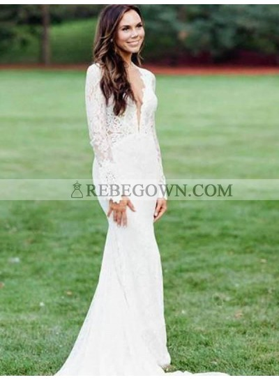 2021 Long Sleeves Wedding Dresses Front Slit Lace Sheath Floor Length Long Backless Beach Bridal Gowns