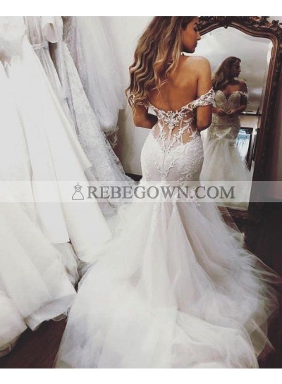 2021 Mermaid Sexy Wedding Dresses Off Shoulder Sweetheart Tulle Backless Lace Bridal Gowns
