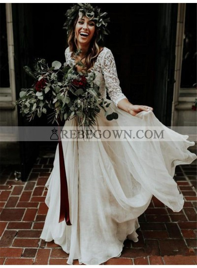 2021 Princess A-Line Wedding Dresses New Arrival Chiffon Long Sleeves Lace Two Pieces Beach Bridal Gowns