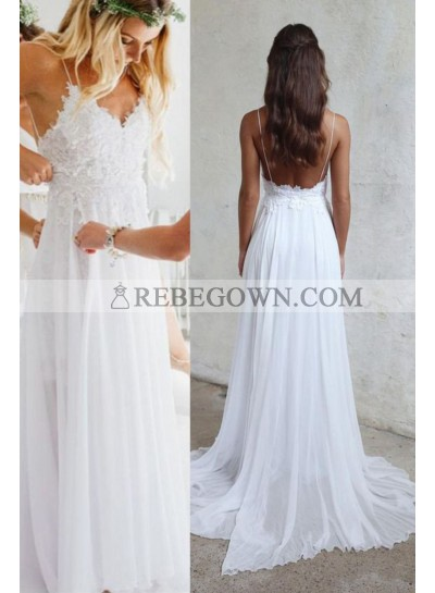2021 Cheap Wedding Dresses Princess A-Line Chiffon Lace Sweetheart Spaghetti Straps Backless Beach Bridal Gowns