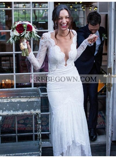 2021 White Wedding Dresses Long Sleeves Sheath Lace V-Neck See Through Back Bridal Gowns