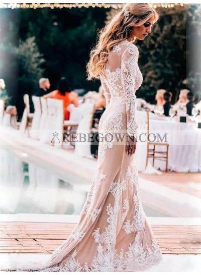 2021 Sheath New Arrival Wedding Dresses Scoop Champagne With Appliques Long Sleeves Bridal Gowns