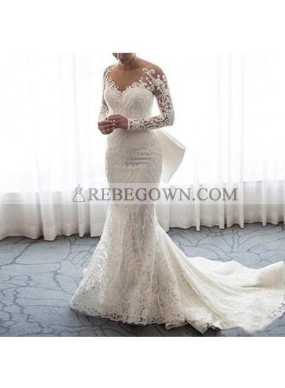 2021 Sheath Column Wedding Dresses Long Sleeves Lace Bowknot Long Bridal Gowns