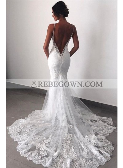2021 Mermaid New Wedding Dresses Sweetheart Backless Lace Beach Bridal Gowns