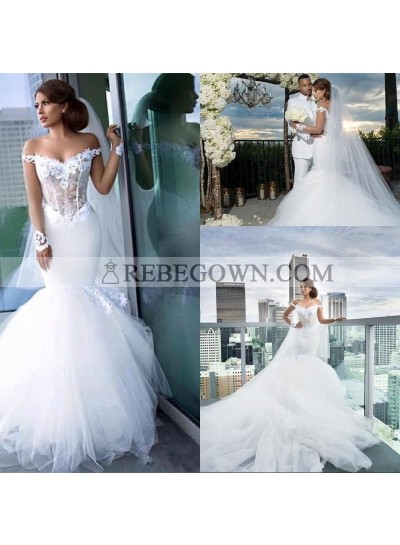 2020 Mermaid New Wedding Dresses White Sweetheart Off Shoulder Tulle Long Sleeves Bridal Gowns