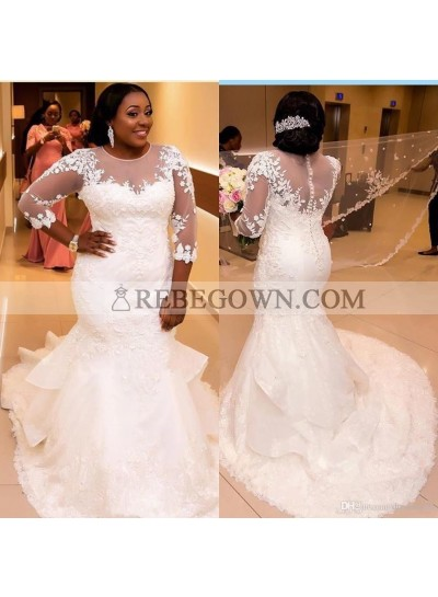2021 Cheap Wedding Dresses Long Sleeves Mermaid Round Neck Plus Size Bridal Gowns