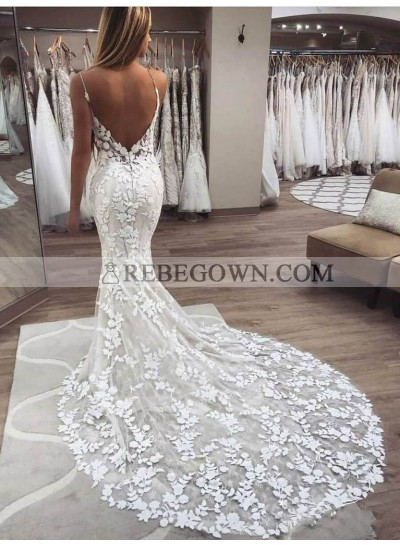 2021 Mermaid Sexy Wedding Dresses Sweetheart Spaghetti Straps Backless Lace Bridal Gowns
