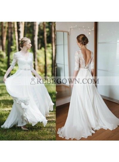 2021 Cheap Wedding Dresses Princess A-Line Chiffon Long Sleeves Backless Lace Bowknot Beach Bridal Gowns