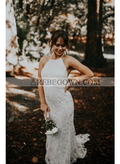 2021 Sheath Column Wedding Dresses Halter Lace Backless Beach Bridal Gowns