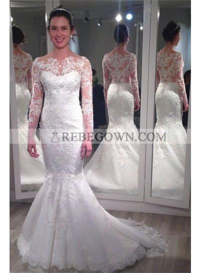 2021 Mermaid Wedding Dresses Long Sleeves Lace Bateau Classic Bridal Gowns