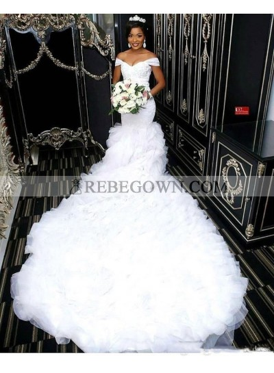 2021 Mermaid Sexy Wedding Dresses Sweetheart Off Shoulder Pleated Ruffles Layered Long Bridal Gowns