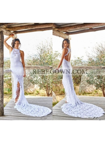 2021 Sheath New Arrival Wedding Dresses White Side Slit Lace Backless Halter Beach Bridal Gowns