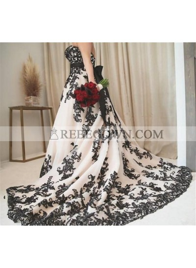 2021 Princess A-Line Wedding Dresses New Arrival Sweetheart Bowknot Plus Size Bridal Gowns Black Appliques