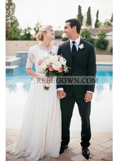 2021 Elegant Wedding Dresses Princess A-Line Chiffon Half Sleeves Beaded Belt Bateau Beach Lace Bridal Gowns