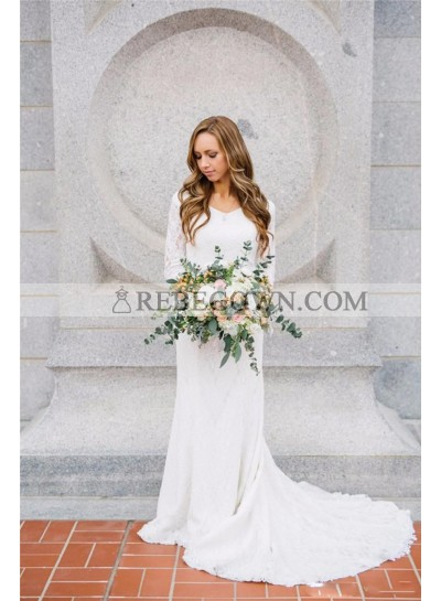 2021 Sheath New Arrival Wedding Dresses Long Sleeves Long Beach Lace Bridal Gowns