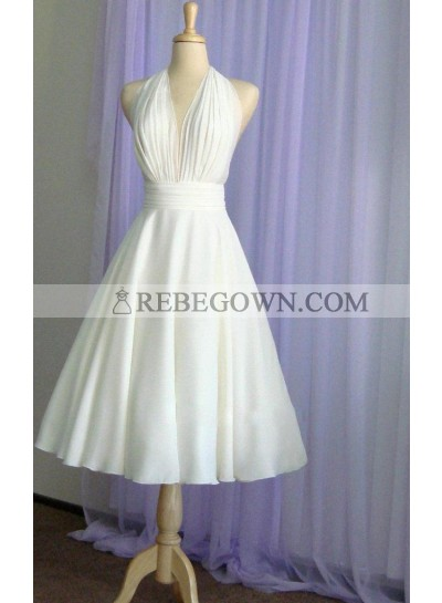 2021 Cheap Wedding Dresses Princess A-Line Chiffon Halter Backless Tea Length Short Bridal Gowns