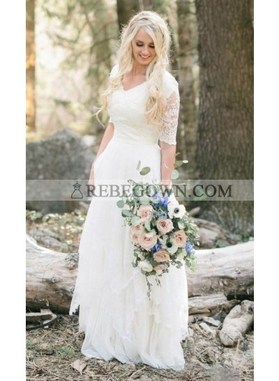 2021 Cheap Wedding Dresses Princess A-Line V-Neck Half Sleeves Lace Pleated Bridal Gowns