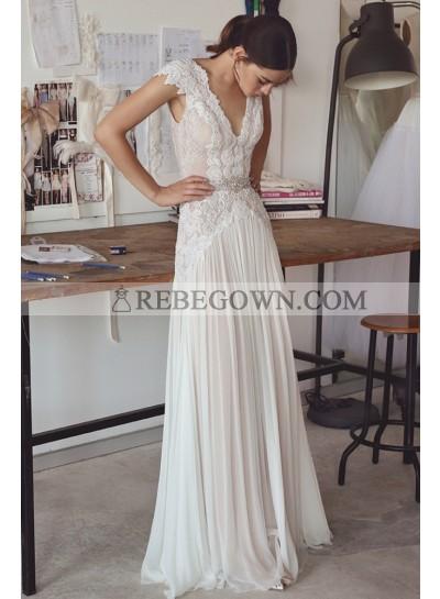 2021 Cheap A-Line Wedding Dresses V-Neck Chiffon Lace Backless Beach Hot Sale