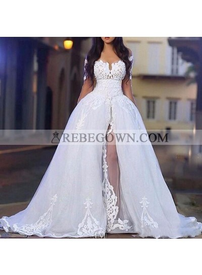 2021 Hot Sale Wedding Dresses White Long Sleeves Off Shoulder Side Slit Tulle With Appliques