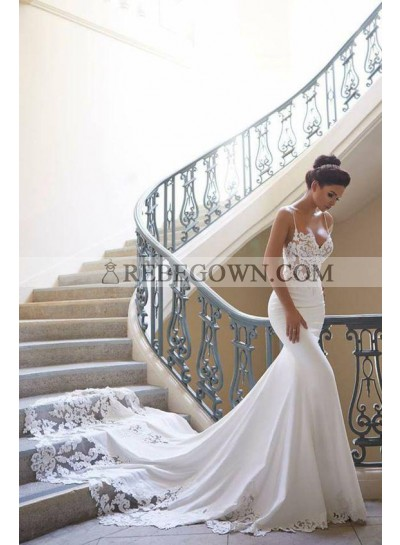 2020 Mermaid Sexy Wedding Dresses Sweetheart Spaghetti Straps Satin Long Hot Sale