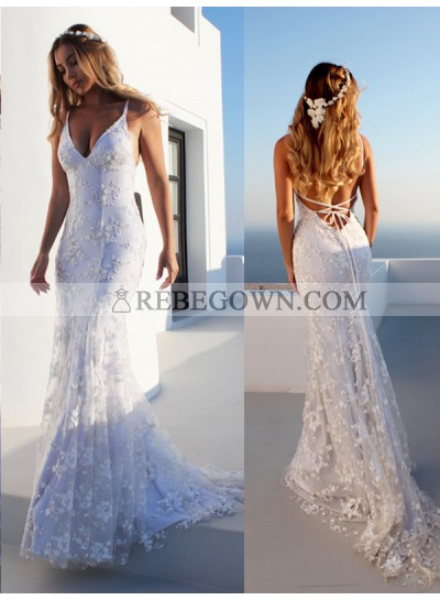 2021 Hot Sale Wedding Dresses Mermaid Halter Lace Up Backless Lace Beach