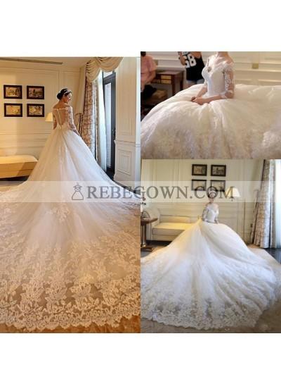 2021 Hot Sale Wedding Dresses A-Line Long Sleeves Off Shoulder Long Train Lace