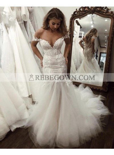 2021 Mermaid Wedding Dresses Sweetheart Lace Tulle Off Shoulder Lace Hot Sale
