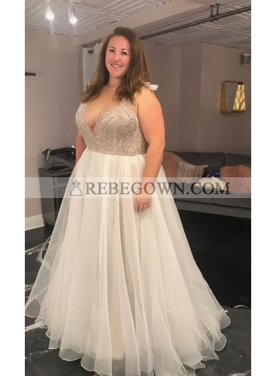 2020 Amazing Wedding Dresses A-Line Chiffon Sweetheart Beaded Plus Size